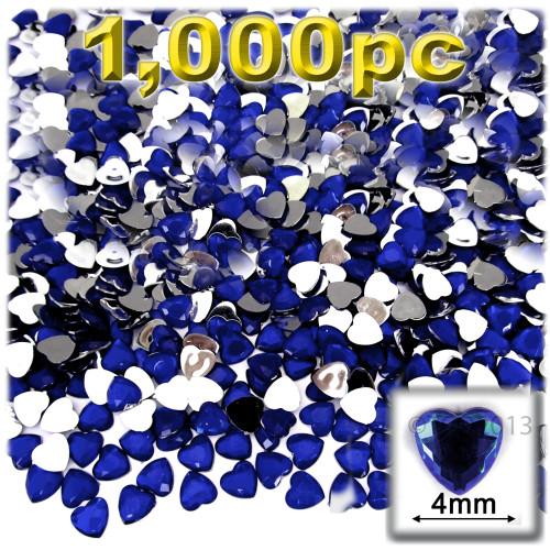 Rhinestones, Flatback, Heart, 4mm, 1,000-pc, Royal Blue