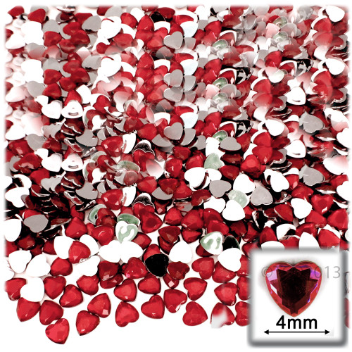 Rhinestones, Flatback, Heart, 4mm, 288-pc, Ruby Red