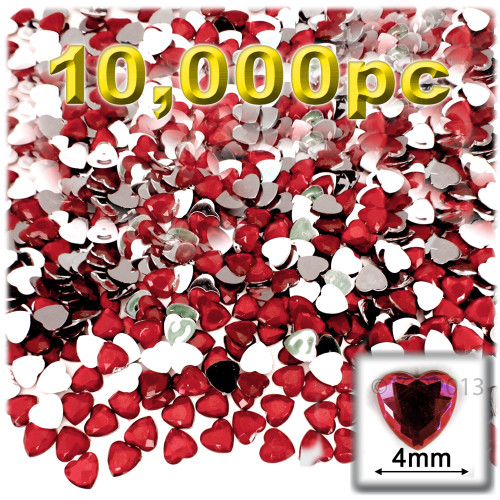 Rhinestones, Flatback, Heart, 4mm, 10,000-pc, Ruby Red