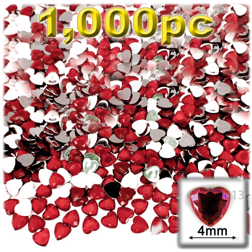 Rhinestones, Flatback, Heart, 4mm, 1,000-pc, Ruby Red