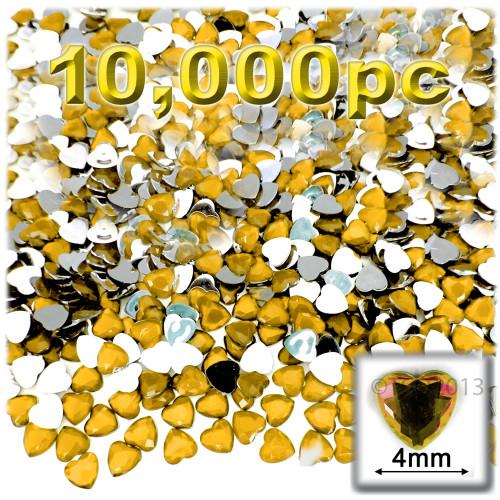 Rhinestones, Flatback, Heart, 4mm, 10,000-pc, Golden Yellow