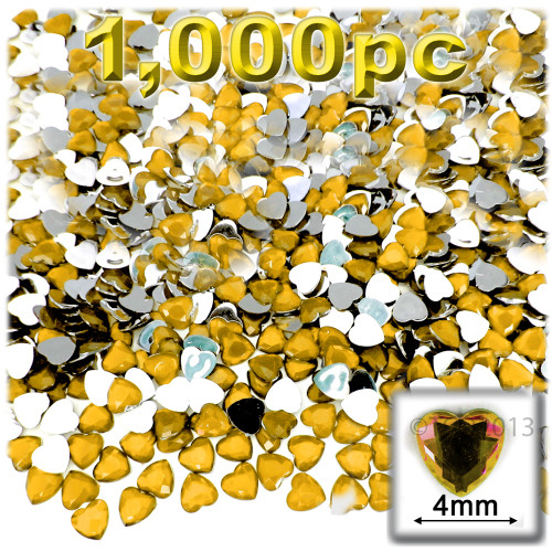 Rhinestones, Flatback, Heart, 4mm, 1,000-pc, Golden Yellow