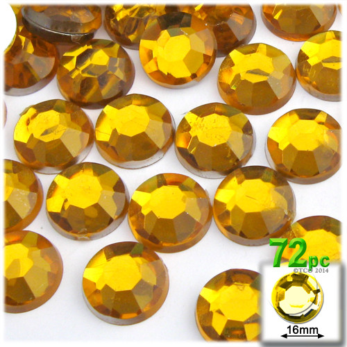Rhinestones, Flatback, Round, 16mm, 72-pc, Yellow