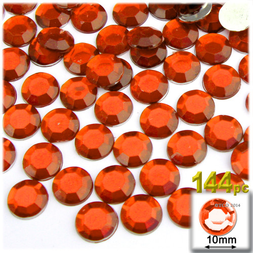 Rhinestones, Flatback, Round, 10mm, 144-pc, Orange