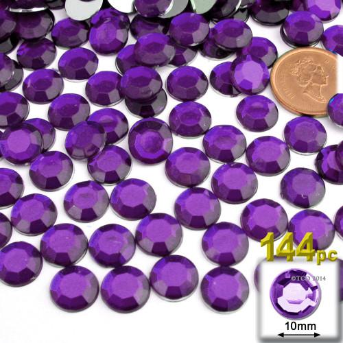 Rhinestones, Flatback, Round, 10mm, 144-pc, Purple (Amethyst)
