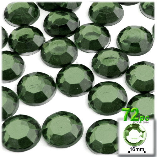 Rhinestones, Flatback, Round, 16mm, 72-pc, Olive Green