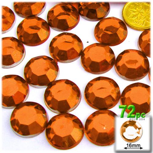 Rhinestones, Flatback, Round, 16mm, 72-pc, Orange