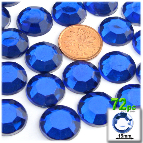 Rhinestones, Flatback, Round, 16mm, 72-pc, Royal Blue