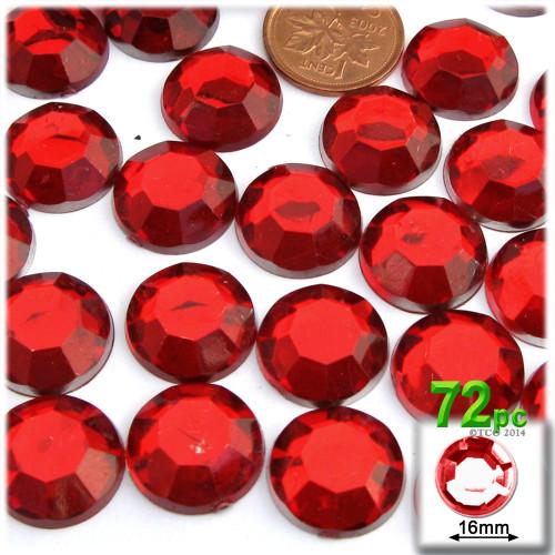 Rhinestones, Flatback, Round, 16mm, 72-pc, Ruby Red