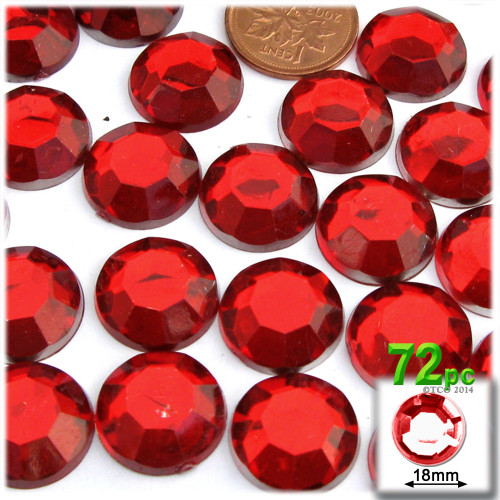 Rhinestones, Flatback, Round, 18mm, 72-pc, Ruby Red