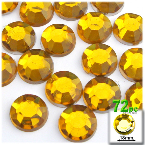 Rhinestones, Flatback, Round, 18mm, 72-pc, Golden Yellow