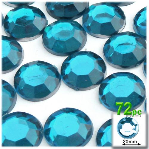 Rhinestones, Flatback, Round, 20mm, 72-pc, Aqua Blue