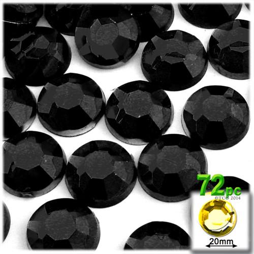 Rhinestones, Flatback, Round, 20mm, 72-pc, Jet Black