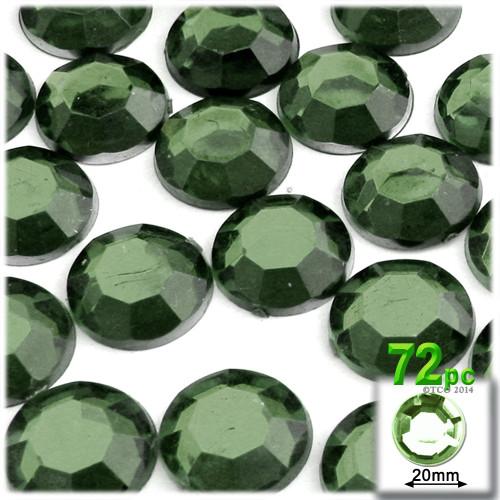 Rhinestones, Flatback, Round, 20mm, 72-pc, Olive Green
