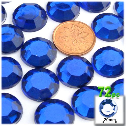 Rhinestones, Flatback, Round, 20mm, 72-pc, Royal Blue