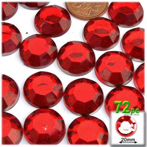 Rhinestones, Flatback, Round, 20mm, 72-pc, Ruby Red