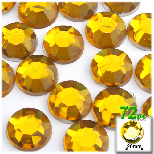 Rhinestones, Flatback, Round, 20mm, 72-pc, Golden Yellow