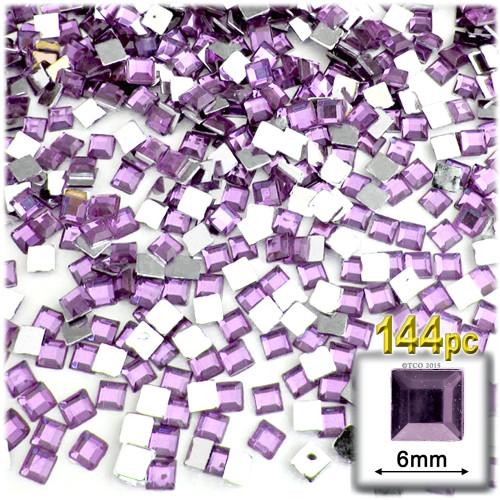 Rhinestones, Flatback, Sqaure, 6mm, 144-pc, Lavender