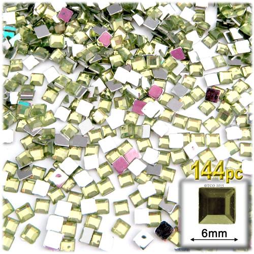 Rhinestones, Flatback, Sqaure, 6mm, 144-pc, Olive Green