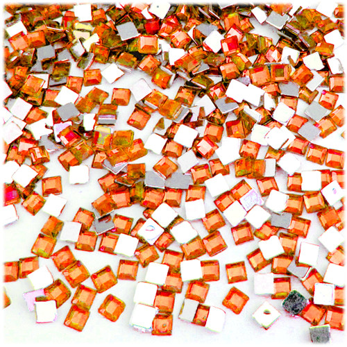 Rhinestones, Flatback, Sqaure, 6mm, 144-pc, Orange