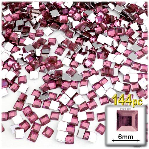 Rhinestones, Flatback, Sqaure, 6mm, 144-pc, Light Baby Pink