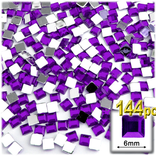 Rhinestones, Flatback, Sqaure, 6mm, 144-pc, Purple (Amethyst)