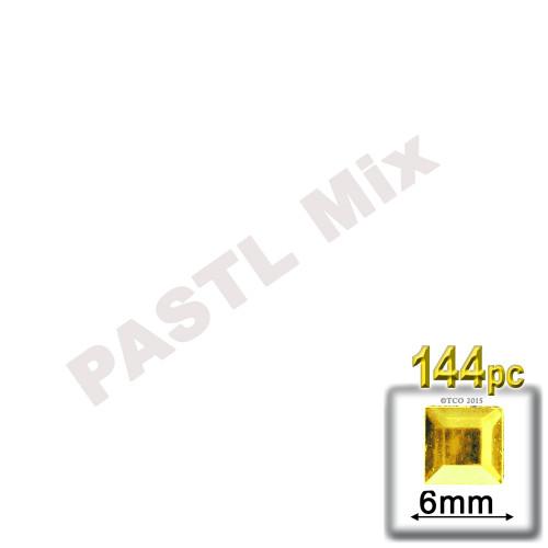 Rhinestones, Flatback, Sqaure, 6mm, 144-pc, Pastel Assortment