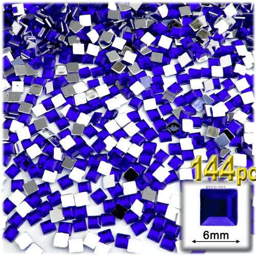 Rhinestones, Flatback, Sqaure, 6mm, 144-pc, Royal Blue