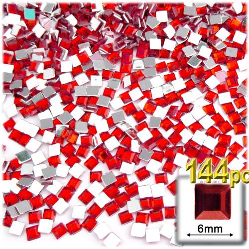 Rhinestones, Flatback, Sqaure, 6mm, 144-pc, Ruby Red