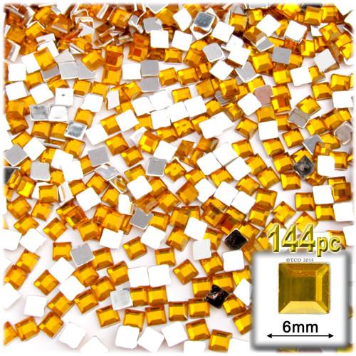 Rhinestones, Flatback, Sqaure, 6mm, 144-pc, Golden Yellow