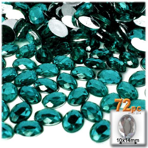 Rhinestones, Flatback, Oval, 10x14mm, 72-pc, Teal Blue