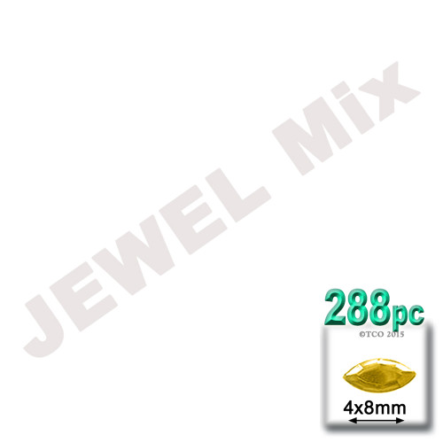 Rhinestones, Flatback, Eye, 4x8mm, 288-pc, Jewel Tone Assortment