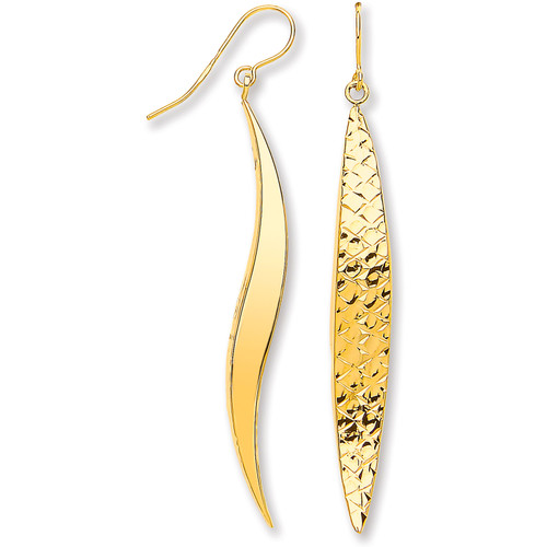 9ct gold engraved hook in wavy drop earrings 2.6g