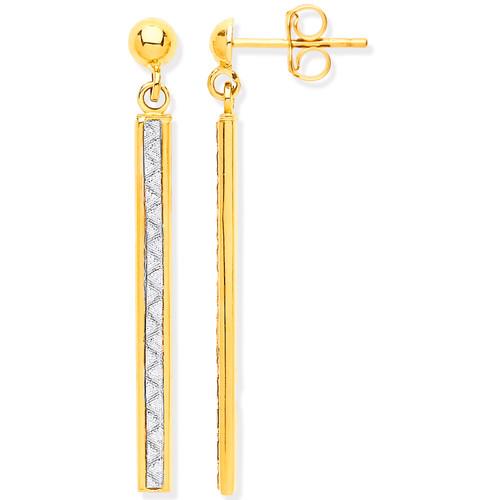9ct Gold Moondust channel set bar drop stud earrings 1.4g