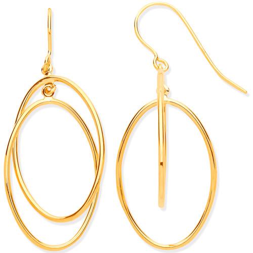 9ct Gold circle in circle hook in drop earrings 1.4g
