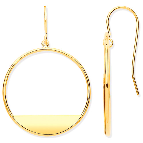 9ct Gold modern style circle drop earrings 1.2g