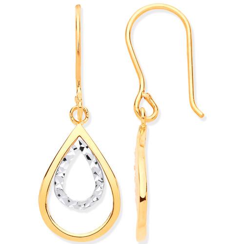 9ct gold two colour cut out teardrop hook in drop earrings 1.6g