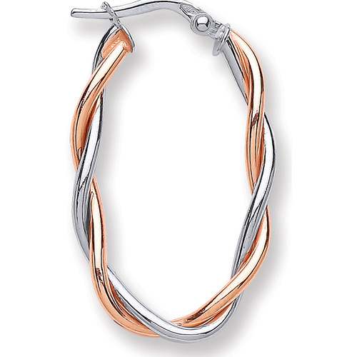 9ct white and rose gold two strand twisted hoop earrings 1.3g