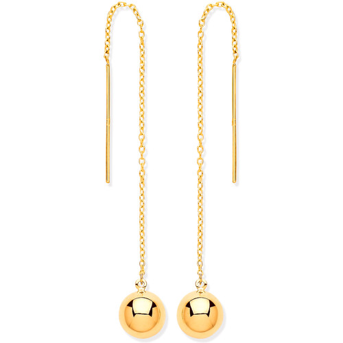 9ct Gold chain and ball threader earrings 1.6g