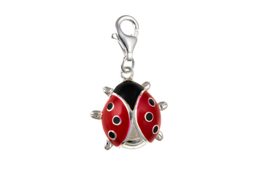 Sterling Silver cubic zirconia and enamelled clip on ladybird charm