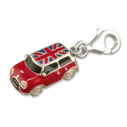 Sterling Silver Clip-on Enamelled Mini Car Charm