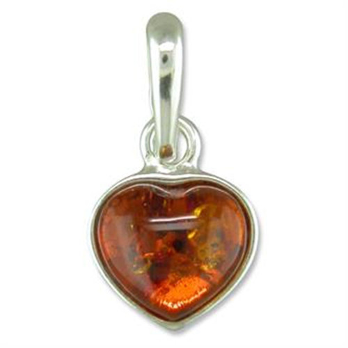 Sterling Silver Heart shaped cognac amber pendant