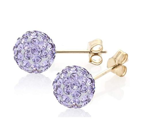 8MM Lilac shamballa Crystal 9ct Gold stud Earrings