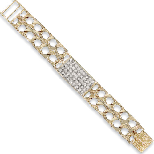 Kids 6 inch 9ct Gold double strand plain and barked cast Cubic Zirconia ID Bracelet 17g