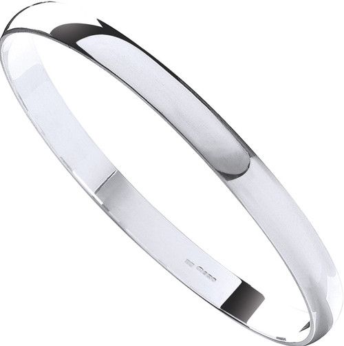 Sterling silver 7mm thick D-Shape Slave Bangle 21.5g