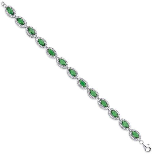 Ladies Sterling silver Cubic Zirconia Emerald Halo bracelet 11.2g