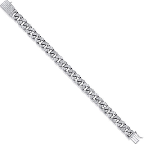 """Gents 8.5"""" Sterling silver 9mm thick Cubic Zirconia Cuban style bracelet 41g"""