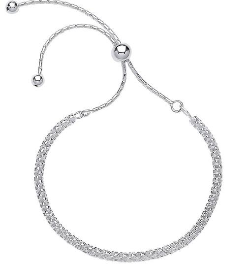 Ladies Sterling Silver Friendship Toggle Slider Bracelet 3.7g