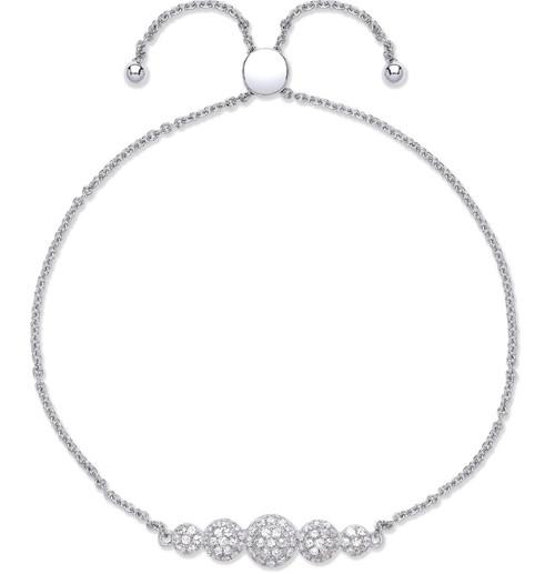 Ladies Sterling Silver Cubic Zirconia Cluster Friendship Toggle Slider Bracelet 3.2g