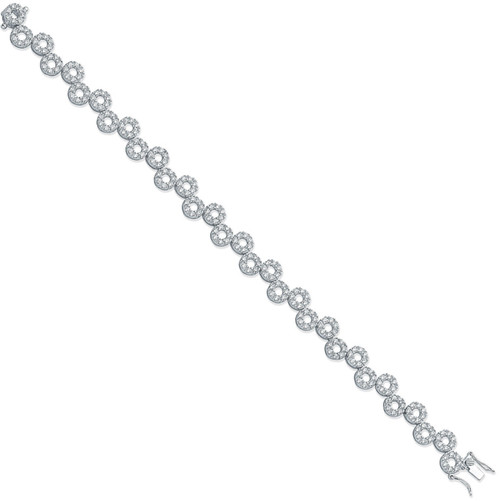 Ladies Sterling silver Cubic Zirconia cut out circle bracelet 14.5g